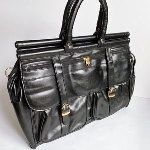 Vintage black leather satchel